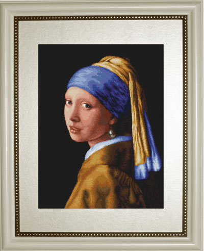 Gold Collection Lovely Counted Cross Stitch Kit Girl With A Pearl Earring Charming Woman Lady Maid With Scarfs Luca-s B467