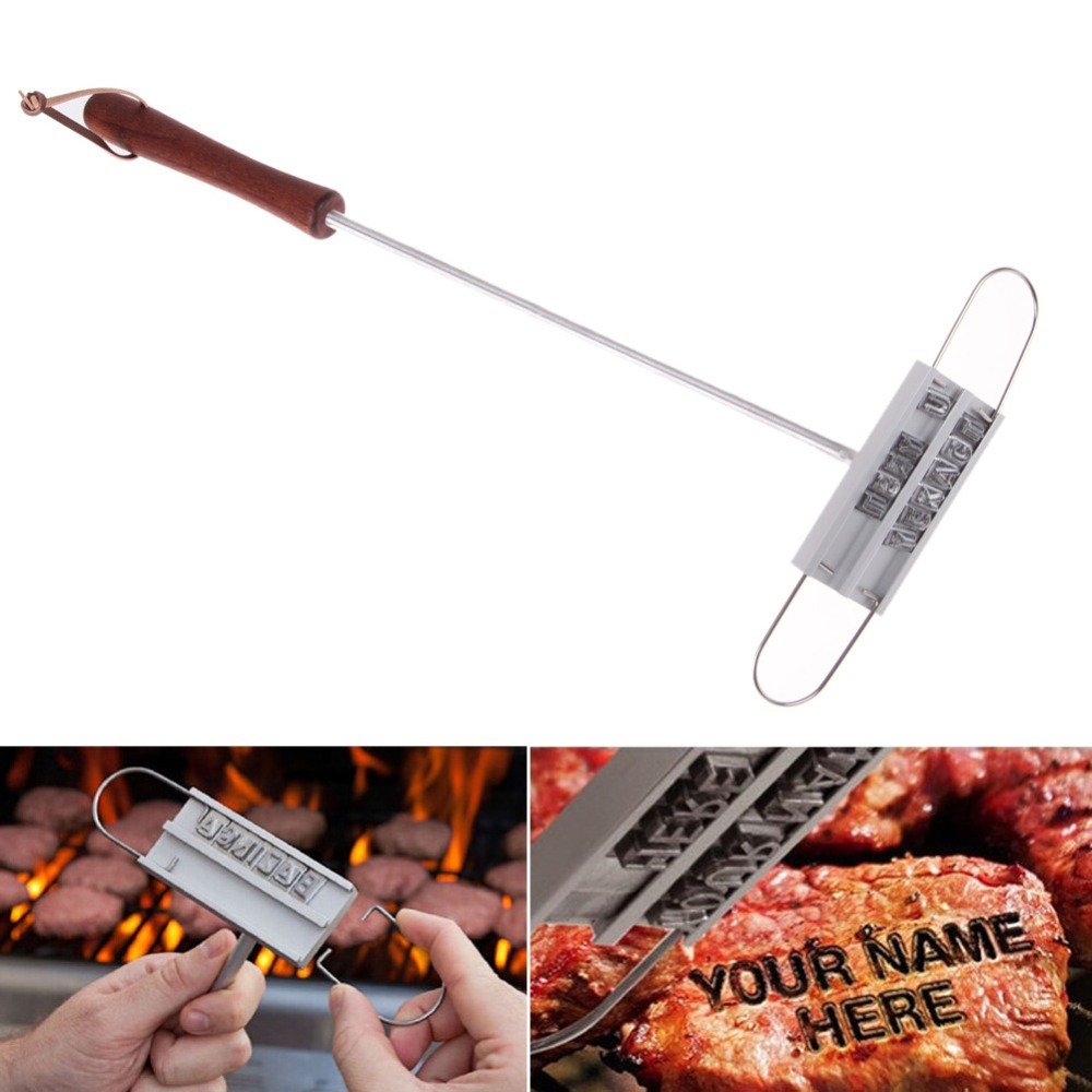 BBQ Meat Branding Iron with Changeable 55 Letters Grill Steak Meat Barbecue BBQ Tongs Tool Sets Dropshipping