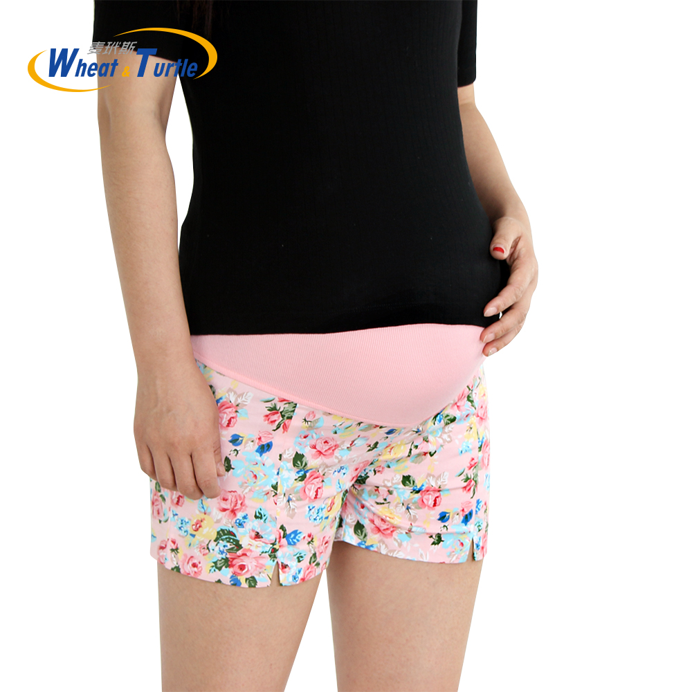 [Wheat Turtle] 2017 Summer Flower Shorts For Maternity Ultra Thin Hot Pants For Pregnant Women Chic Short Trousers of Pregnancy ultra chic pубашка