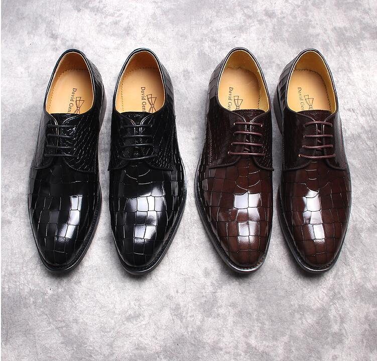 Derby shoes men genuine patent leather alligator print lace up dress shoes plaid wedding smart casual male luxury oxfords plaid print back slit pencil dress