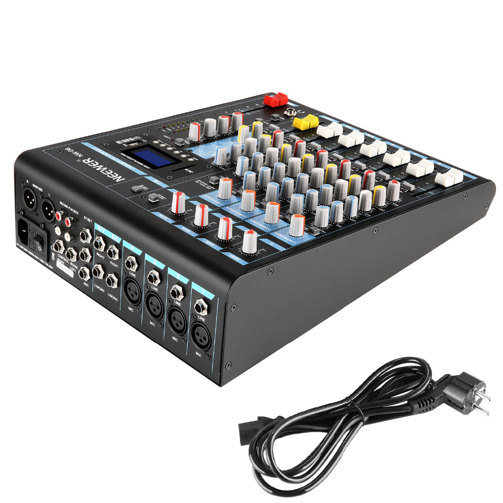 Neewer Stereo Mixer 8 Channel Compact DSP Effects Mini Mixing Console with USB 3 Band LED Level Indicator for Computer Mic NW 08