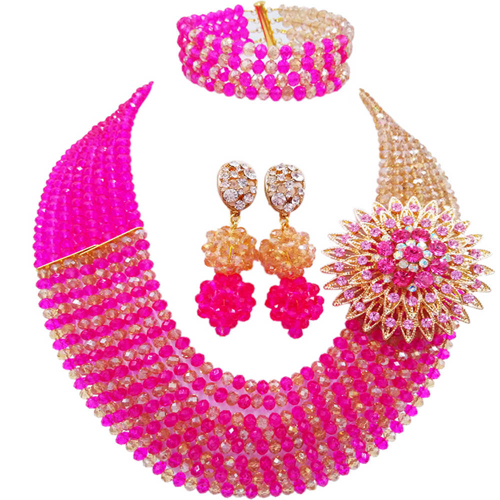 Fashion Fuchsia Pink Champagne Gold AB African Jewelry Set Crystal Beads Statement Necklace Sets 8JBK07Fashion Fuchsia Pink Champagne Gold AB African Jewelry Set Crystal Beads Statement Necklace Sets 8JBK07