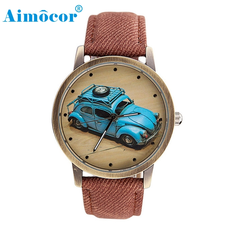 2017 Newly Designed Relogio Feminino Clock Concise Fashion Men And Women Retro Car Pattern Denim Twill Strap Watch Gift 323