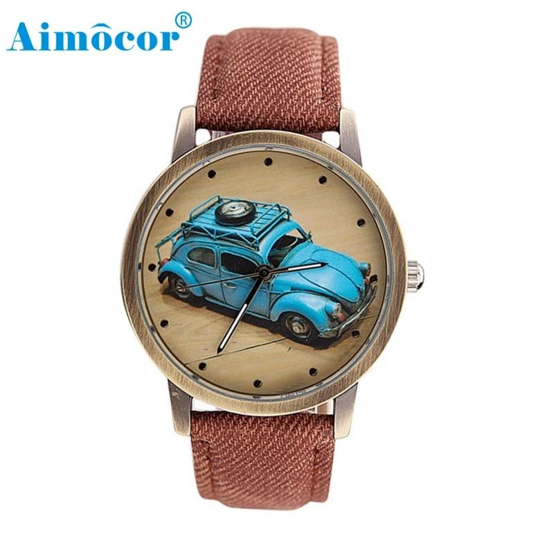 2017 Newly Designed Relogio Feminino Clock Concise Fashion Men And Women Retro Car Pattern Denim Twill Strap Watch Gift 323
