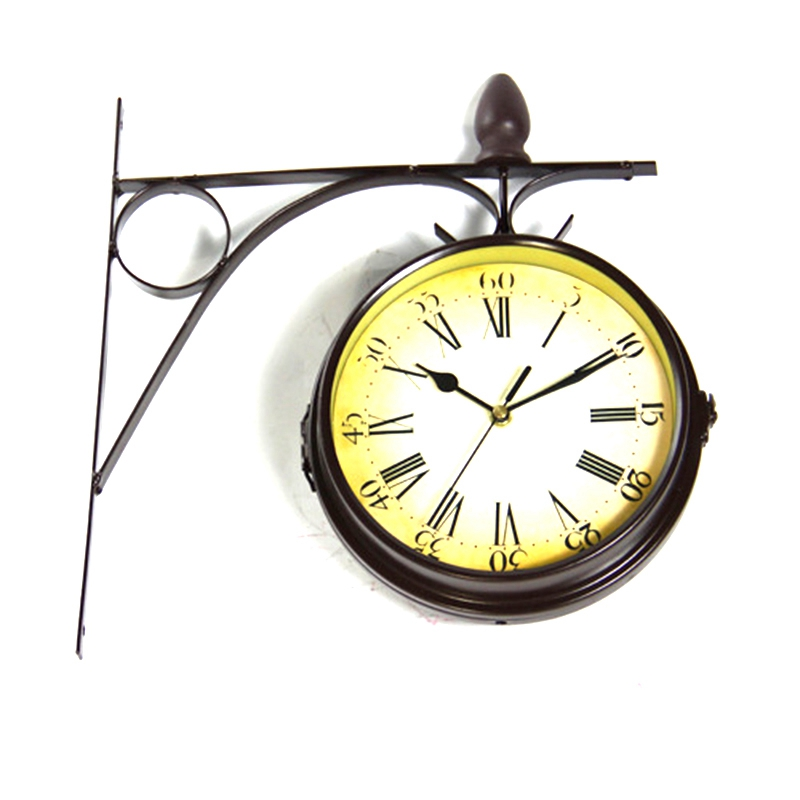 1Pcs New European Style Vintage Clock Innovative Fashionable Double Sided Wall Clock Wrought Iron Home Decoration