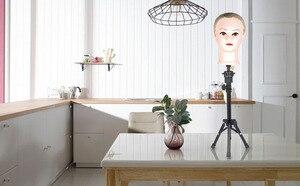 Image 2 - 조정 가능한 미니 미용 삼각대 미용사 훈련 머리 거짓 머리 테이블 스탠드 거짓 머리 홀더 머리 가발 금형 클램프