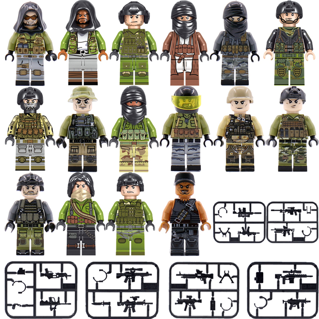 Military SWAT Team Guns Weapons For Kids Building Blocks Compatible Legoings City Police Figure WW2 Bricks Army Builders Toys