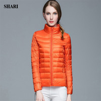 SHARI FASHION 2017 Autumn And Spring Ultra Light Down Jacket 90 White Duck Down Long Sleeve