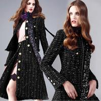 Freeshipping Shiny Temperament Bright Silk Woven Woolen Fabric Black Knitting Suit Cloak Fabric Print Satin Fabric