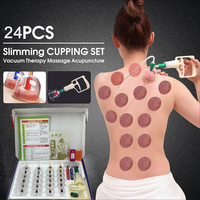 24pcs Vacuum Cupping Set Magnetic Massage Jars With Suction Pump Body Ventouse Cellulite Therapy Cupuncture Healthy
