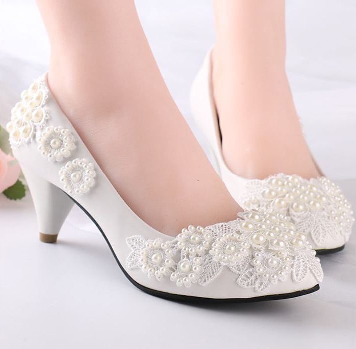 Pearls Flower Lace Wedding Shoes For Women Milk White