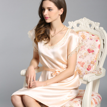 100% Silkworn Silk Women Nightgowns Summer Short-Sleeve Sexy Real Sleepwear Female Sweet Round Neck Sleeping Dress S5508