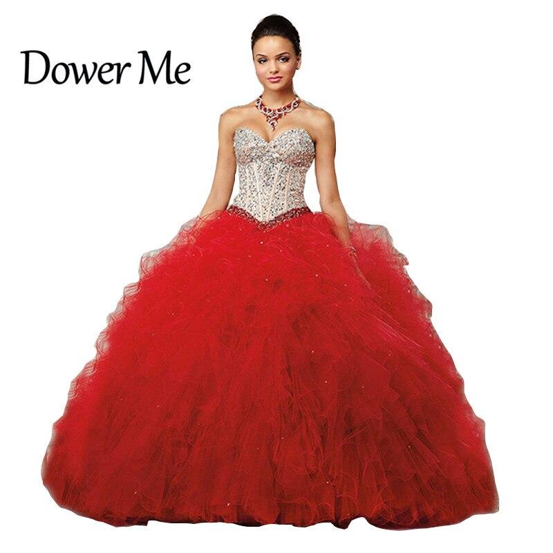d4b5a00fd Vestidos De 15 Anos vestido de Bola Atractivo Rojo Con Cuentas Cristales  Piedras Partido Vestidos Románticos Vestidos de Quinceañera 2017 Vestido de 15  Años ...