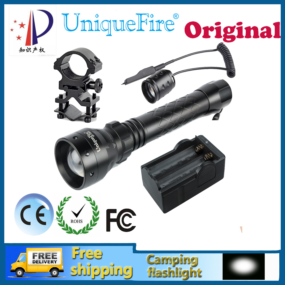 Uniquefire 1502 XPE Adjustable, Waterproof LED Flashlight 3W LED Bulbs White Light+Two Slot Charger + Gun Mount + Rat Tail