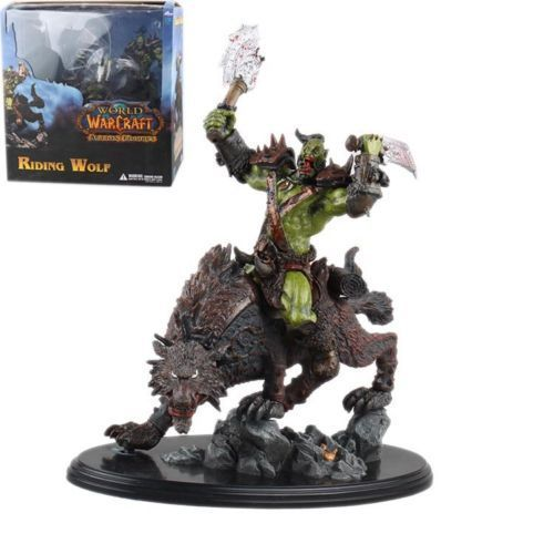 WOW WORLD VETERAN ORC WARRIOR RIDING WOLF STATUE FIGURES Anime Figure Collectible Model Toy dc wow thrall the orc shamman action figure toys thrall the orc shamman doll pvc acgn figure collectible model toy brinquedos