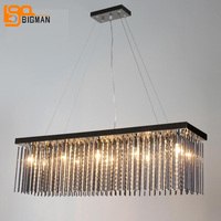 Modern Rectangular Crystal Chandelier Dinning Room Living Room LED Light Fixtures