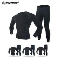 XINTOWN Men Active Sports Set Polar Fleece Long Sleeves Pants T Shirt Elastic Breathable Quick Dry