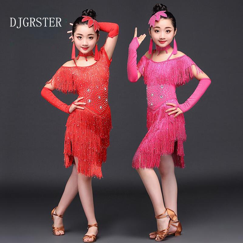 DJGRSTER Children Tassel Latin Dance Dress for Girls Ballroom Dance Competition Dresses kids Modern Waltz/tango/Cha Cha Costumes