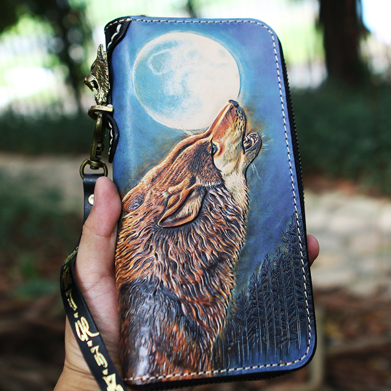 Handmade Women Genuine Leather Card Holder MOON WOLF Wallets Bag Purses Men Clutch Vegetable Tanned Leather Long Wallet brand handmade genuine vegetable tanned leather cowhide men wowen long wallet wallets purse card holder clutch bag coin pocket