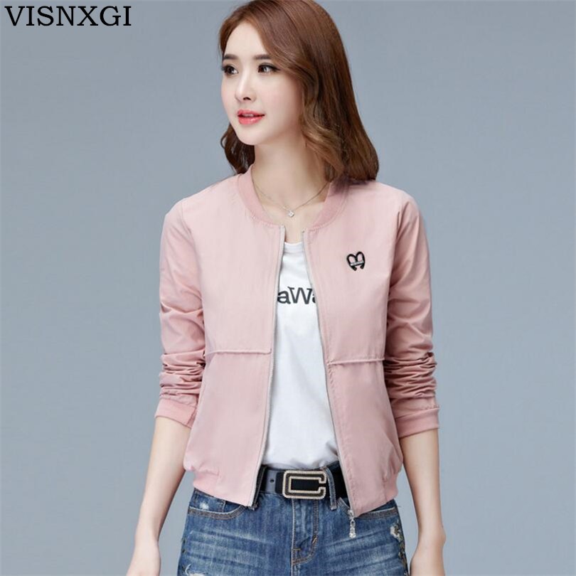 VISNXGI New Womens Autumn Casual Jackets Ladies White Pocket Zipper Front Stand Collar Long Sleeve Basic Jacket Coat Outwear