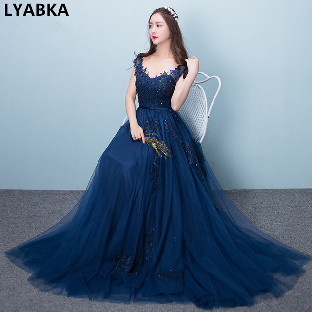 Gaun Pesta Jubah De Soiree 2017 New Style Sexy Sayang Navy Blue