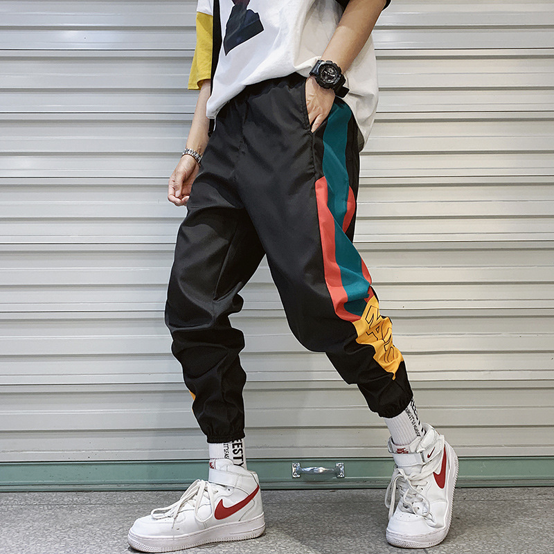 Joggers-Trousers Harem-Pant Splice Elastic-Waist Hip-Hop-Streetwear High-Sweatpants Male