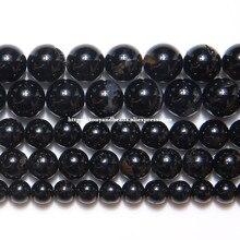 Cuentas redondas sueltas de turmalina negra Natural, Calidad B, hilo de 15