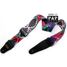 High Quality acoustic guitar belt , electric guitar straps,cotton material with leather head  S008 07-13