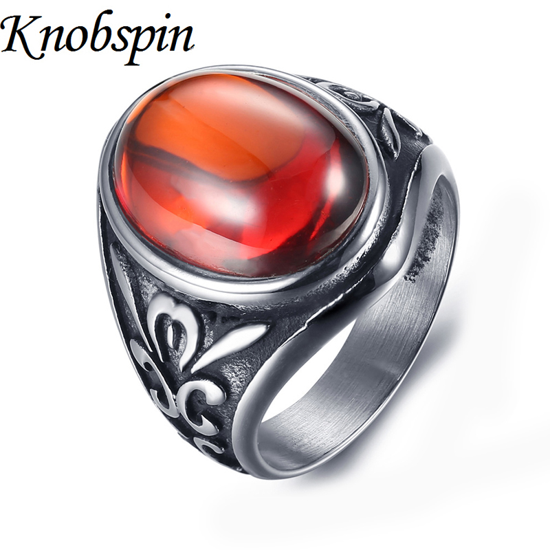 Charm Cubic Zirconia men Jewelry Vintage Gothic ring men high quality stainless steel Jewelry bague homme size 7-11 anillos