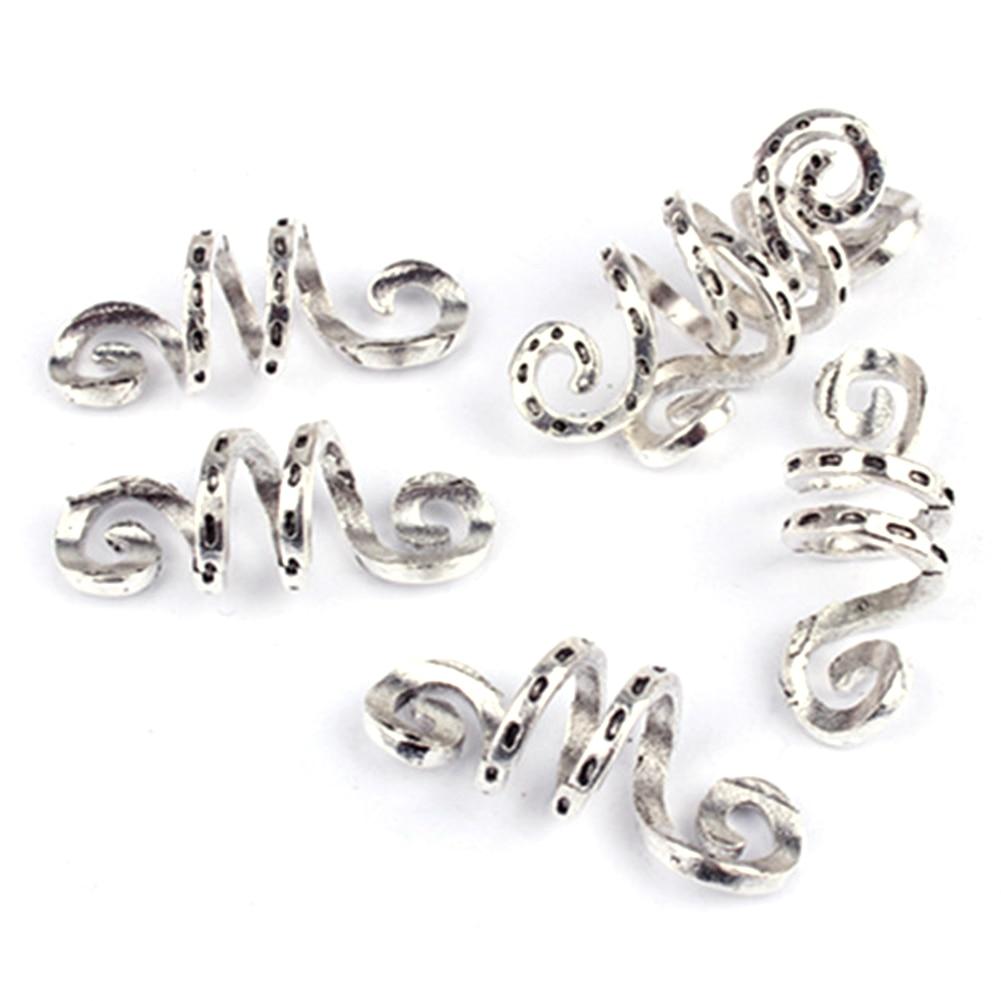 10Pcs Silver Alloy  Spiral Hair Dread Braids Dreadlock Beads Cuffs Clips For Hair Accessories
