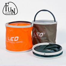 FunSeries Portable Folding Canvas Bucket Fly Carp Fishing Accessories Tackle For Live Fish Water Storage Orange Gray Green