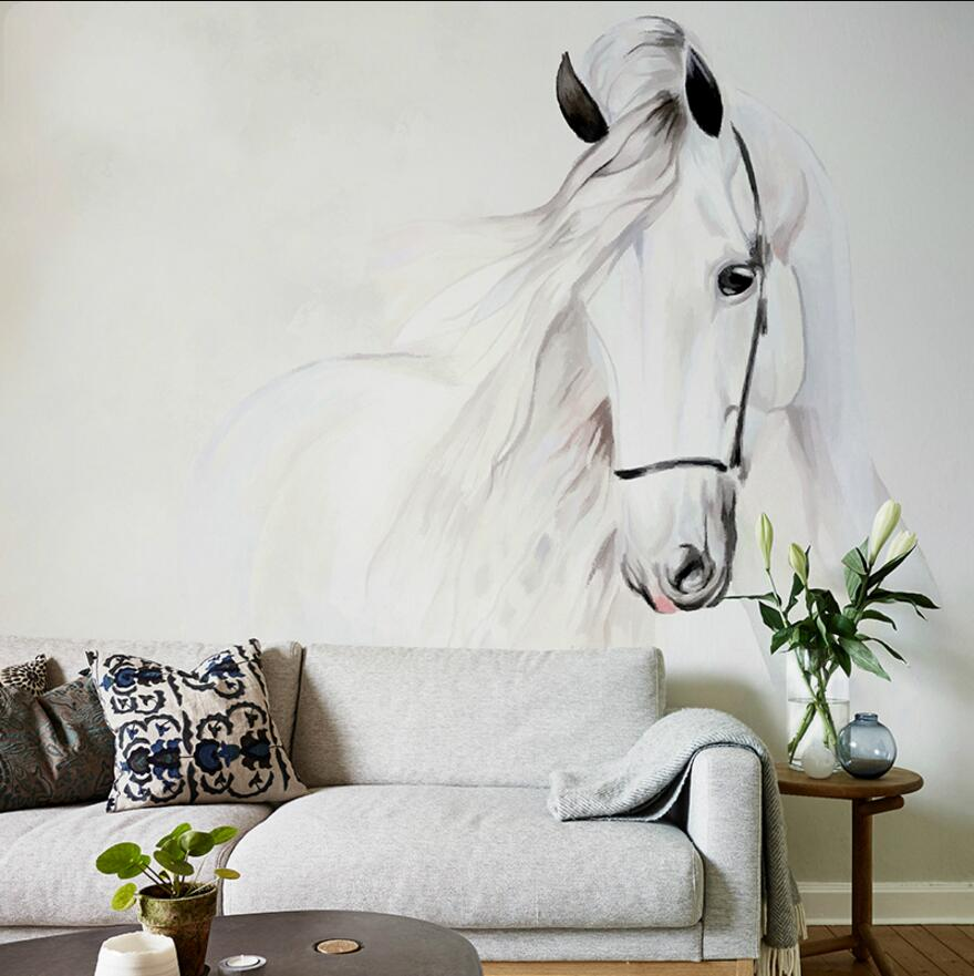 chinese designs wash painting white horse printing wall mural custom made wallpapers in. Black Bedroom Furniture Sets. Home Design Ideas