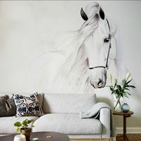 Dessins chinois lavage peinture blanc cheval impression papier peint sur mesure fonds d'écran