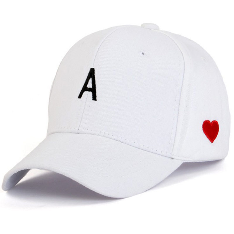 Cute Love Heart Women's   Cap   Letter A Adjustable   Baseball     Cap   Panel Snap back White Pink Black