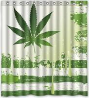 green Marijuana Custom Shower Curtain Pattern Waterproof Fabric Shower Curtain For Bathroom 66*72inch