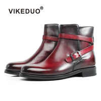 VIKEDUO Autumn New Patina Blake Ankle Boots Genuine Leather Buckle Strap Bespoke Round Toe Male Boots Plus Size Handmade Botas