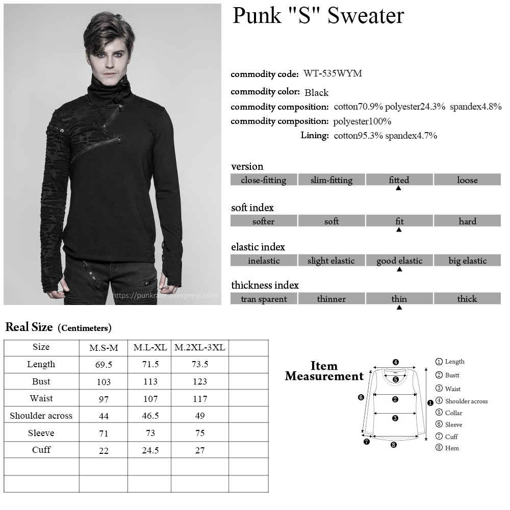 PUNK RAVE New Punk High Collar Comfortable T Shirt Rock Gothic Personality Casual Men S Shaped Long Zipper Cool Street Shirt - 6
