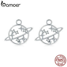 BAMOER 100% 925 Sterling Silver Dazzling CZ Universe Planet Circle Earrings Jackets for Women Sterling Silver Jewelry SCE352-1X(China)