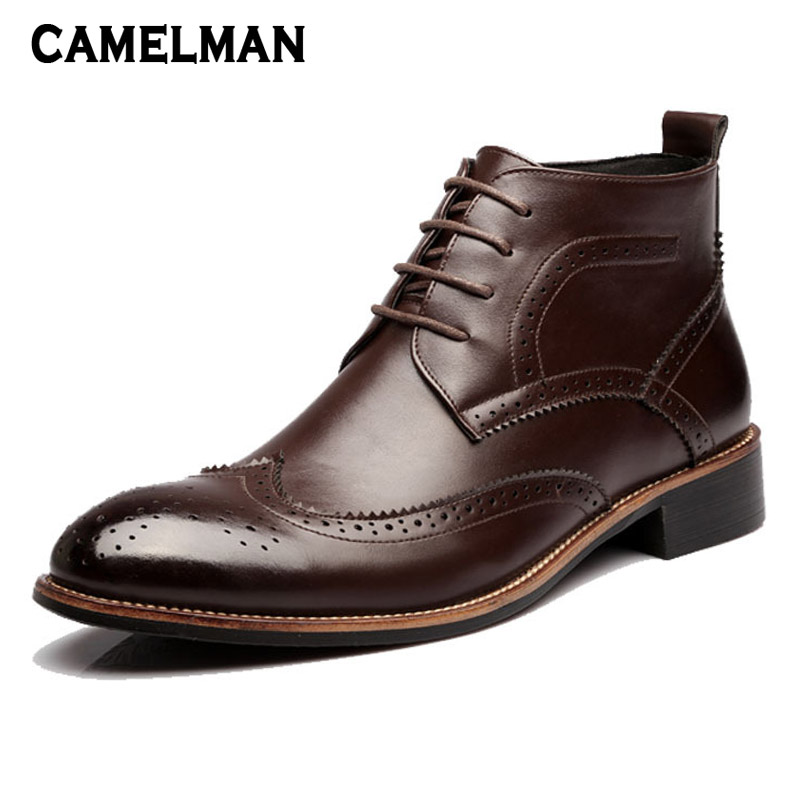 Men Casual Autumn Winter Pointed Toe Ankle Boots Shoes Mens Leather Lace Up Short Boots Comfortable Chelsea Dress Footwear autumn winter black gold leather chelsea ankle boots european design man chelsea buckle boots dress metal chain short boots