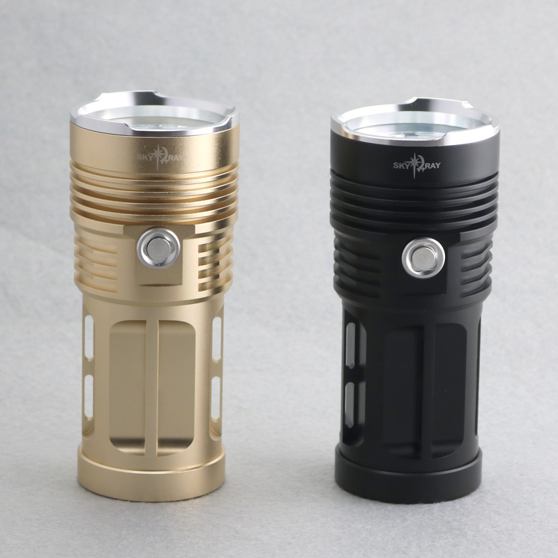 Waterproof Aluminum 10000 Lumens Flashlights 7xCREE XM-L T6 LEDs Torches High Low Storbe 3 Modes SKY RAY Lamp Black Golden Color