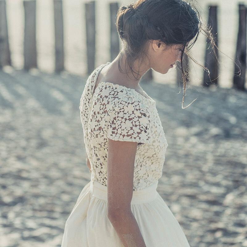 cheap tea length beach wedding dress laure de sagazan boho beach