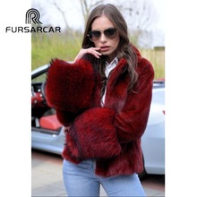 FURSARCAR 2018 Full Pelt Real Mink Fur Coat Women With Turn-down Collar Raccoon Cuff Natural Genuine Female