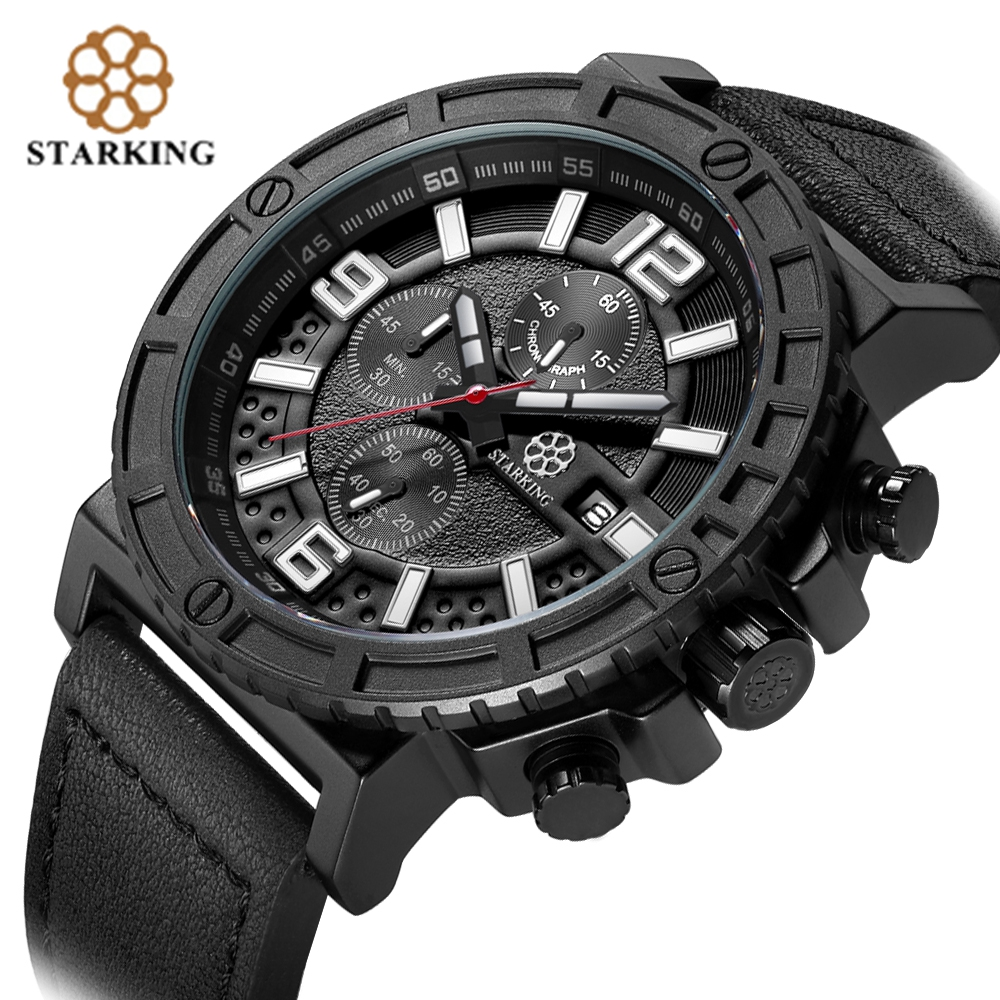 STARKING Genuine Leather Men Sport Watch Army Chronograph Data - Męskie zegarki - Zdjęcie 2