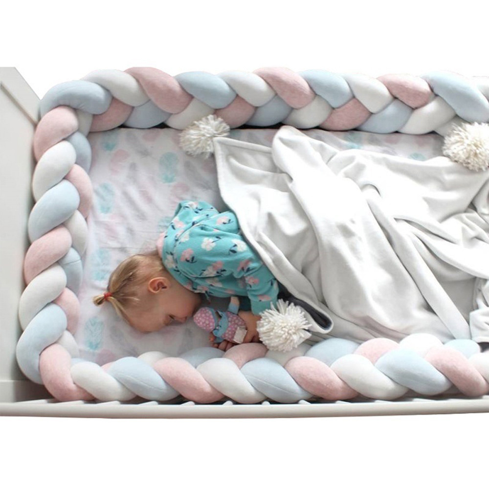Photo or Tummy Time Prop 78 inch Long Baby Cot Cushion Knotted Pillow for Boys and Girls Nursery White//Gray//Blue Navaris Braided Crib Bumper