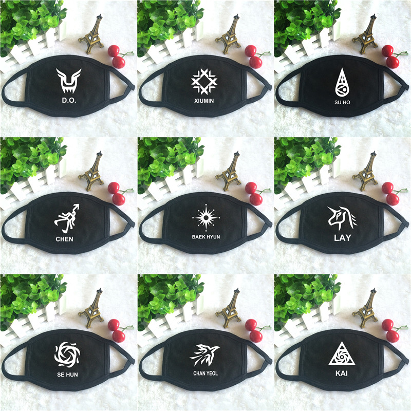 Kpop EXO ChanYeol Baekhyun SUHO KAI CHEN SEHUN D.O. XIUMIN Personal Logo Print K-pop Face Masks Unisex Cotton Black Mouth Mask