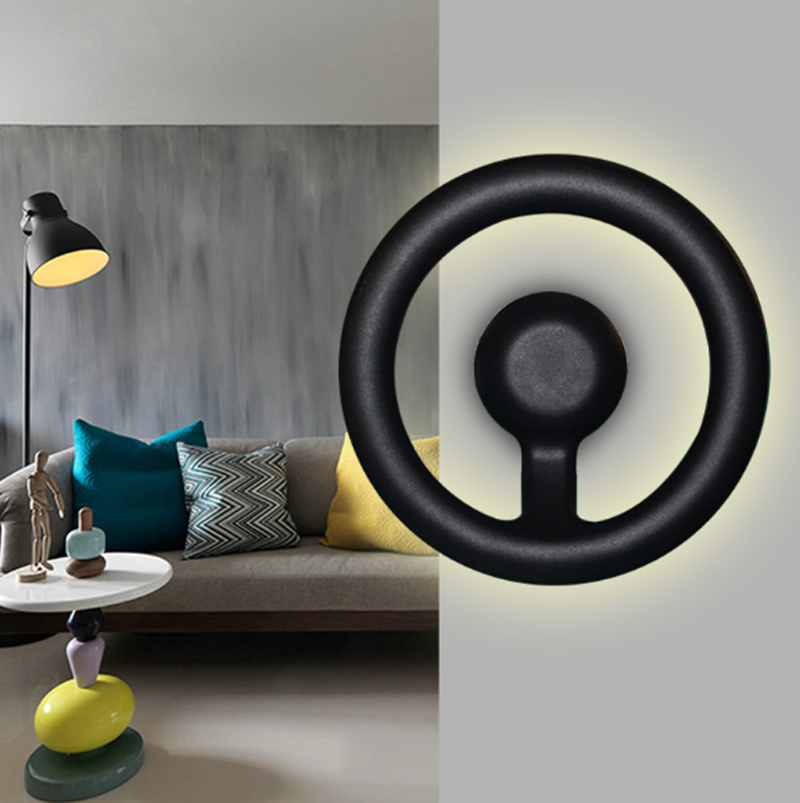 Creative bedside wall lamp modern minimalist led staircase corridor lights aluminum steering wheel fish head art lamps led lamps only minimalist modern creative bedside lamp led wall lamp mirror front lamp aisle lighting fixtures wall lights led