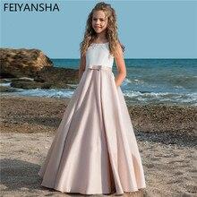 מפואר פרח ילדה שמלות לחתונות Vestidos daminha ילדים ערב תחרות שמלות עם קשת ראשית הקודש שמלות עבור בנות