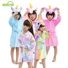 купить EOICIOI Kids Boys Girls Bathrobes Flannel Hooded Cartoon Pegasus Sleepwear Children Towel Robes Winter Baby Clothes Christmas дешево