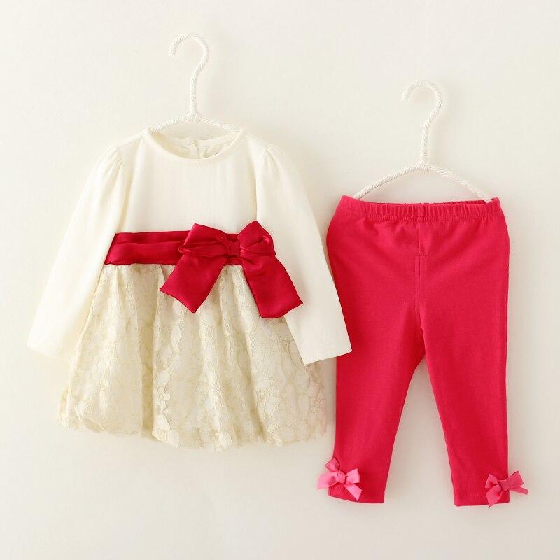 Принцессы для маленьких девочек одежда набор кружева платье и брюки 2 шт. костюмы костюм мода лук дети новорожденных девочек одежда на осень...