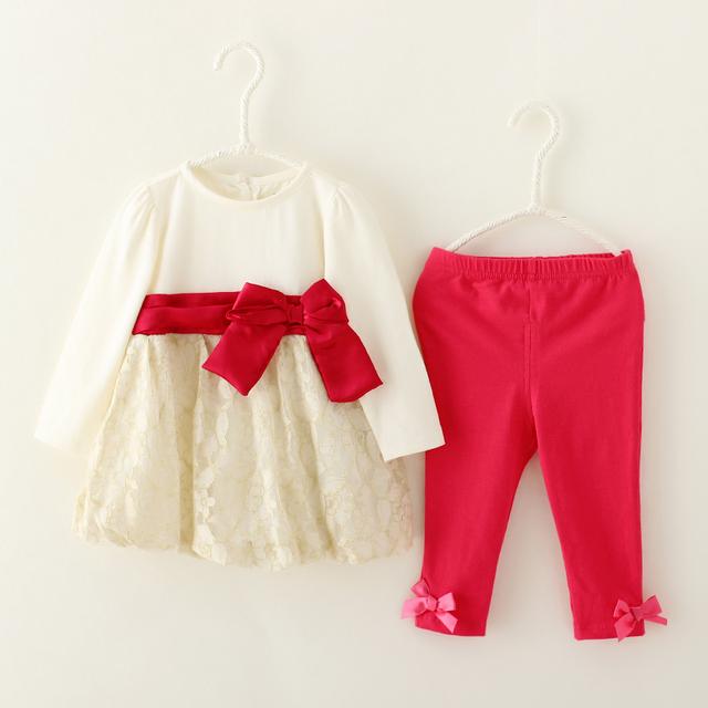 Princesa ropa del bebé fijaron vestido de encaje & Pant 2 unid trajes traje moda arco niños Infant Girls ropa para el otoño desgaste